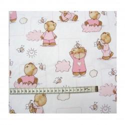 Coton imprimé bébé rose 70 x 50 cm