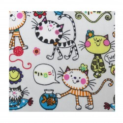 Coton imprimé chat 70 x 50 cm