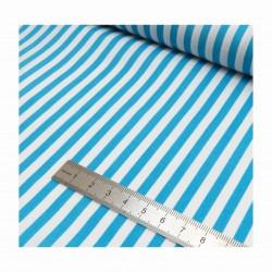 Coton rayures bleu turquoise et blanc