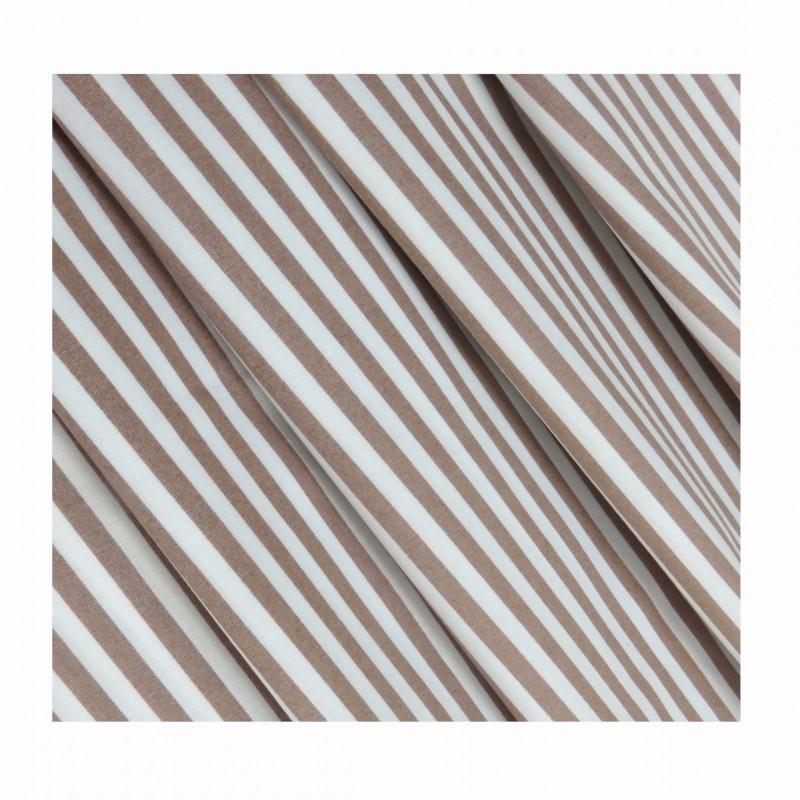 Tissu coton rayé marron