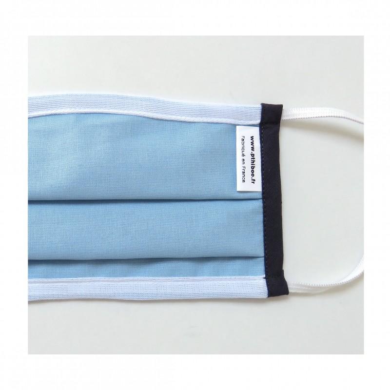 Masque barrière UNS2 bleu bord gris