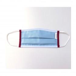 Masque barrière bleu bordure bordeaux